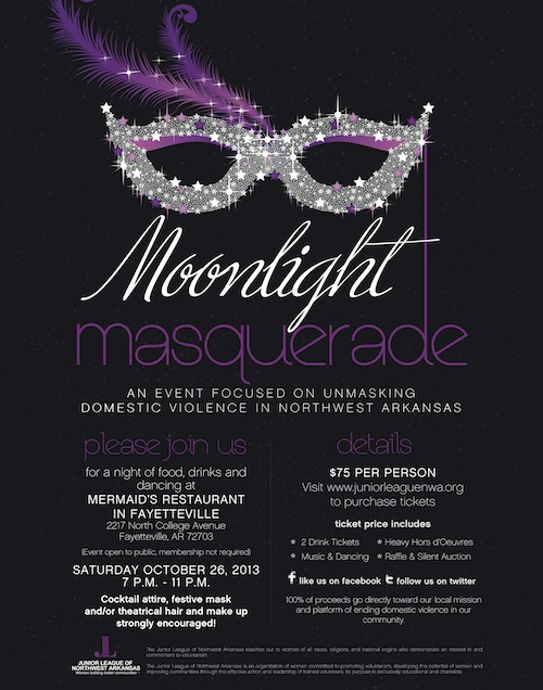 Junior League of Northwest Arkansas will host 'Moonlight Masquerade' to help unmask domestic violence