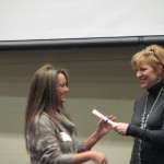 Mary Schneider, incoming SPSF/BC Board Chair, presenting a certificate to Katherine Stertz.