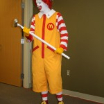 Ronald McDonald prepares to break down the wall
