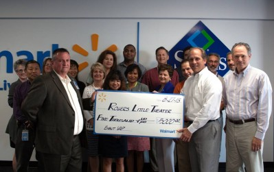 The Wal-Mart Foundation presents Rogers Little Theater with a $5,000 Check for Associate Volunteer Hours
