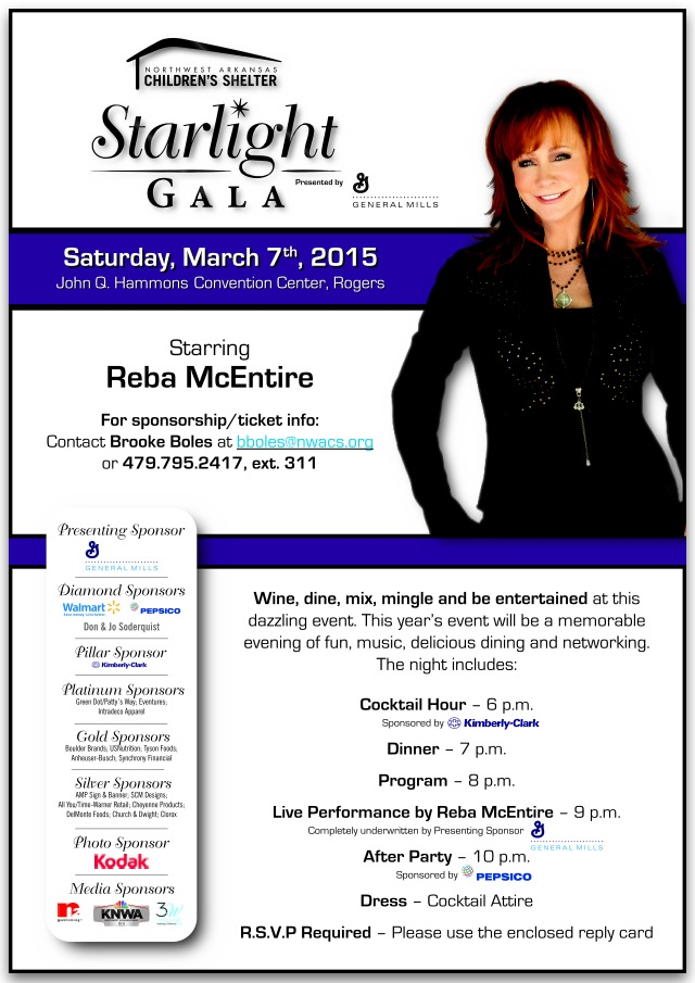 Reba Announced to Headline 2015 Starlight Gala