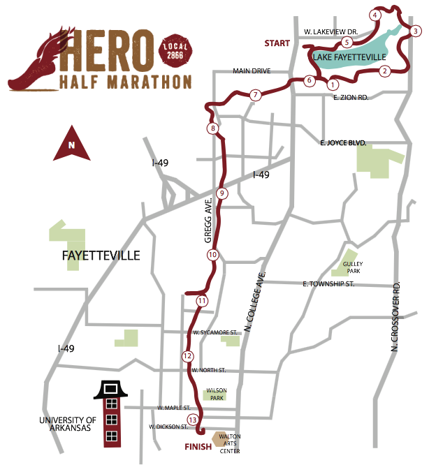Hero Half Marathon course map