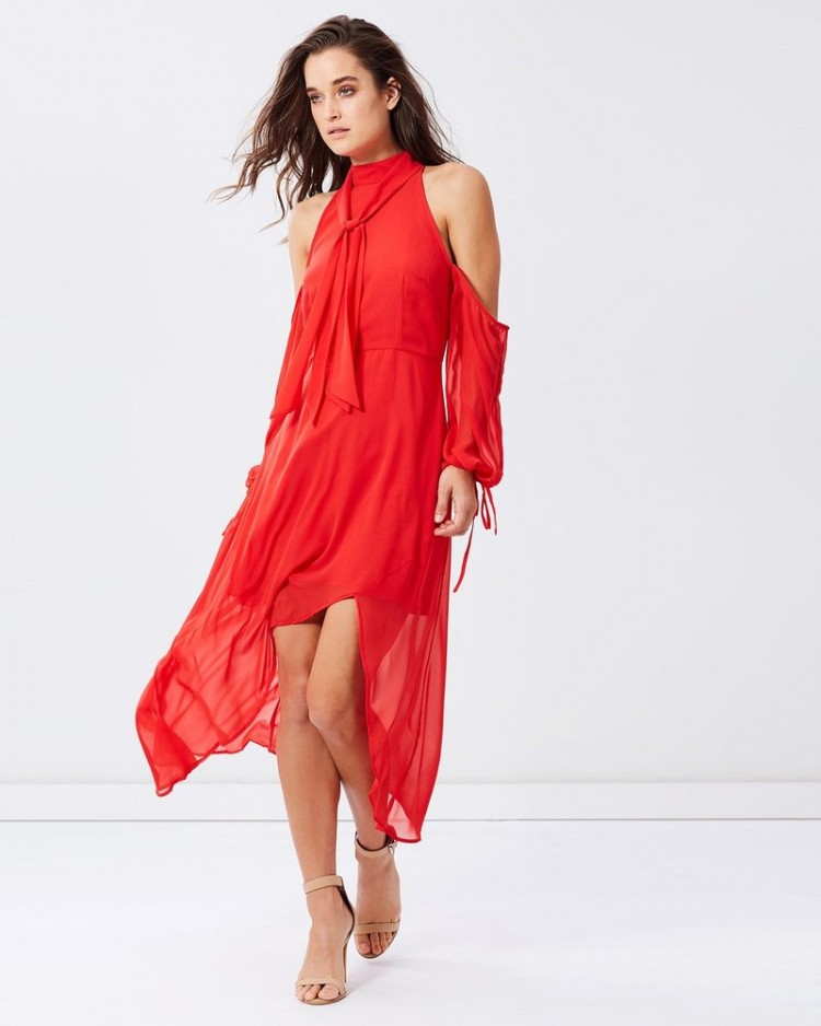 label red dress